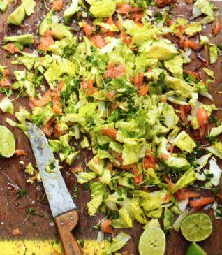 Chopped Green Goddess Salad with smoked salmon