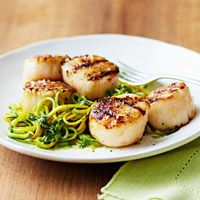 Grilled Scallops with Almond-Arugula Pesto