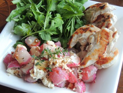 Chicken, rocket & roasted radishes