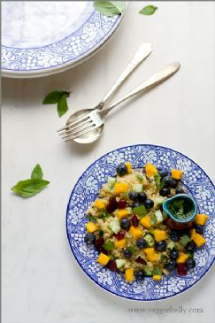 Blueberry Mango Quinoa Salad with Lemon Basil Dressing Recipe - a Veggie Belly recipe