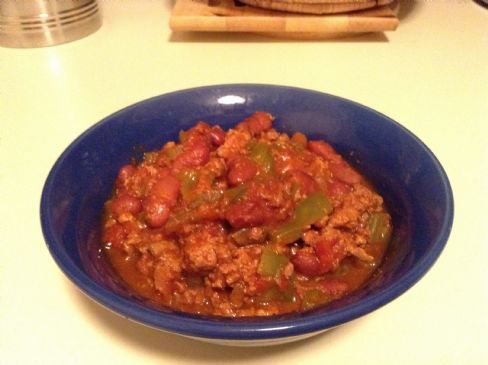 Turkey Chili, 1 cup (4 qt slow cooker recipe)