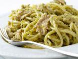 Spaghetti with Tuna & Green Olive Pesto