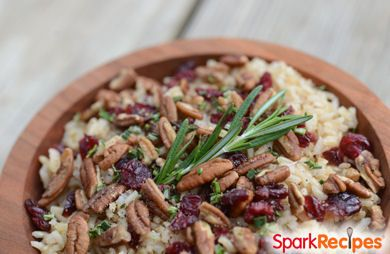 Rosemary-Balsamic Brown Rice with Pecans and Cranberries