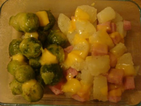 Cheesey Ham & potato's with Brussel Sprouts
