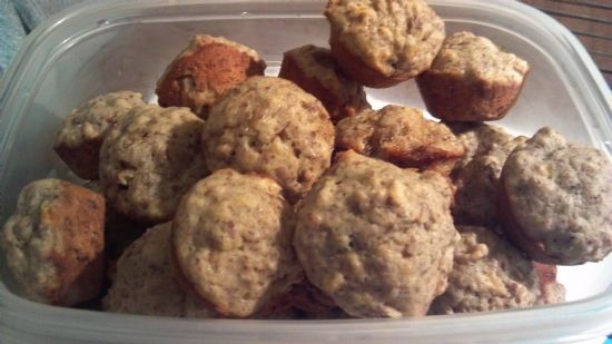 Mini Banana Nut Muffins with Flax Meal