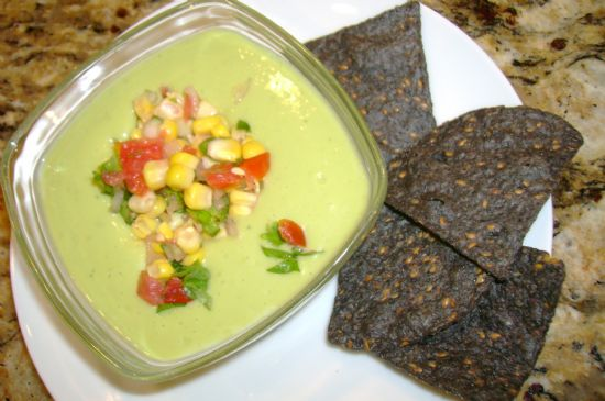 Chilled Avocado and Buttermilk Soup with Corn Salsa