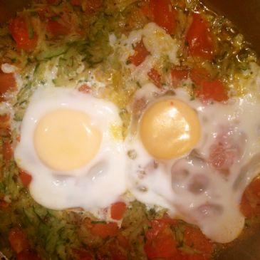 Poached egg on zuchini