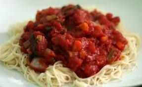 Almost Veggie Spaghetti with Gluten Free pasta.
