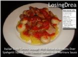 Lean Turkey Sausage With Button Mushrooms, Classico Tomato Basil Marinara over Spaghetti Squash