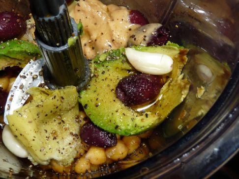 Avocado, artichoke and olive hummus