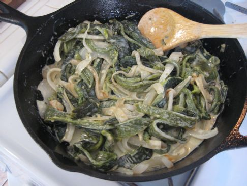 Rajas- Onions and Green Chiles in Cream Sauce