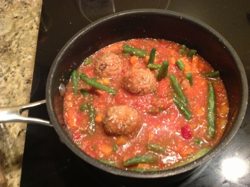 Vegetable turkey meatball soup