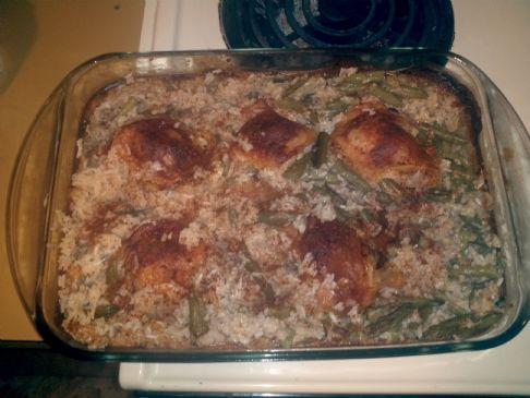 Chicken Casserole w/cream of mushroom & rice