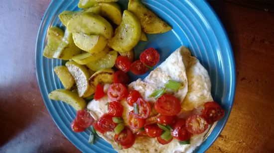 Egg white Omelette and sauteed squash