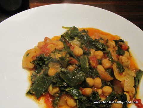 Indian Chick Pea Curry with Kale or Swiss Chard