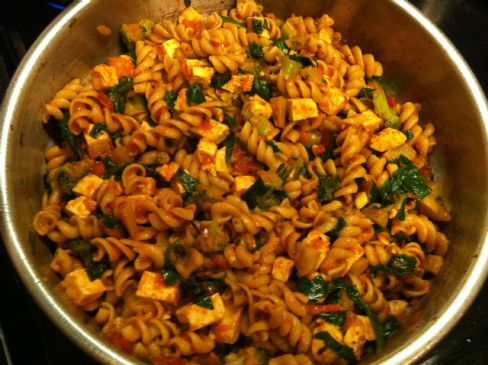 Rotini with tofu and veggies