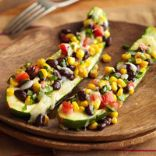 Stuffed Zucchini with Black Beans, Corn, and Jalapeno Pepper