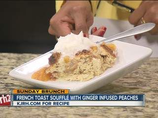 French Toast Souffle with Ginger Infused Peaches