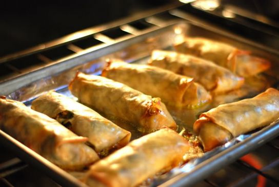 Baked Vegetarian Egg Rolls Recipe Sparkrecipes