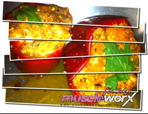 Muscle Worx For Her Chef Kylie Stuffed Capsicums with Chicken, Quinoa and Cottage Cheese