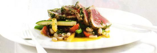 Herb-crusted poached tuna w bean & zucchini salad