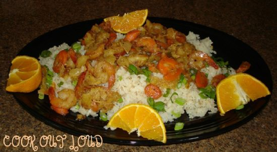 Pinapple coconut shrimp on jasmine rice (www.cookoutloud.com)