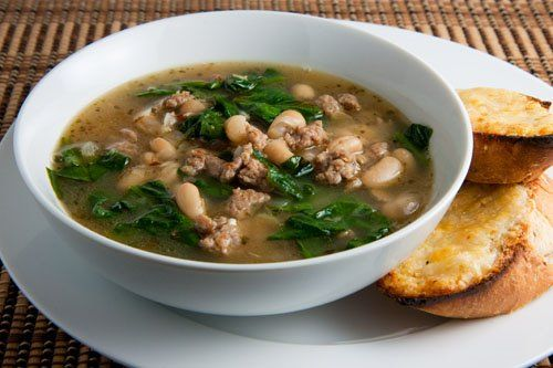Spinach White Bean Beef Soup Recipe | SparkRecipes