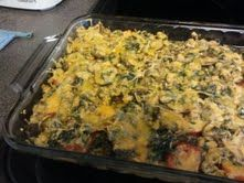 Tomato Casserole with Spinach, Pesto, Ground Chicken Breast, & Mushrooms