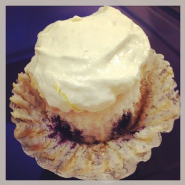 Lemon Blueberry Angel Food Cupcakes