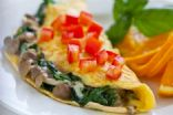 Omelet with fresh spinach, mushrooms & goat cheese