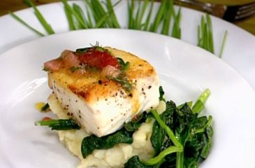 Halibut with Lemon Mashed Potatoes and Garlic Spinach