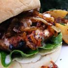 Kickin Turkey Burger with Carmelized Onions and Spicy Sweet Mayo