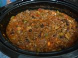 Chili with ground beef, pork sausage, and vegetables