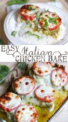 Italian chicken (tomato, pesto and mozzarella cheese)