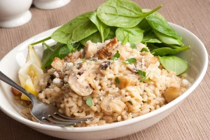 Slow Cooker Mushroom Garlic Risotto