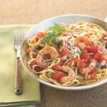Pasta with shrimp and mushrooms