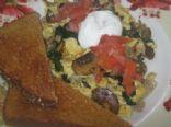 Baby Bella Mushrooms, Spinach, and Turkey Sausage Scramble