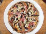 Ham and mushroom tortilla pizza