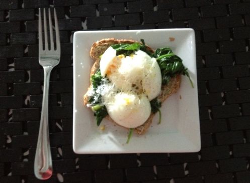 Breakfast egg with spinach and cheese