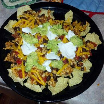 turkey & black bean nachos