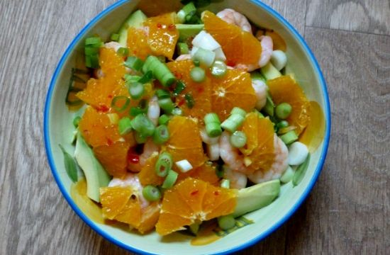 Prawn salad with orange and avocado