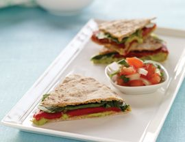 Pita Quesadillas with Cilantro Hummus