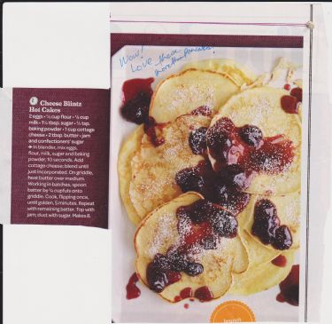 Cheese Blintz Hot Cakes by Rachel Ray (7 Servings Recipe)
