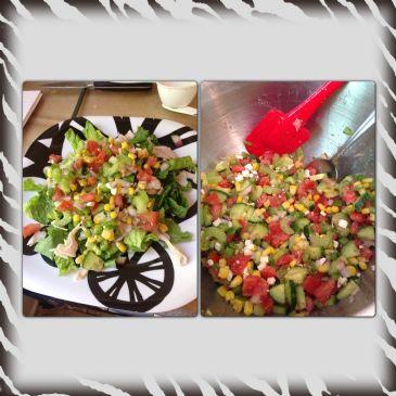 Summer vegetables in a basil vinaigrette