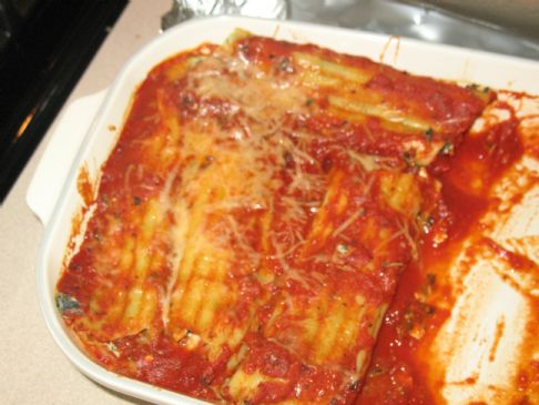 Cottage Cheese Stuffed Manicotti