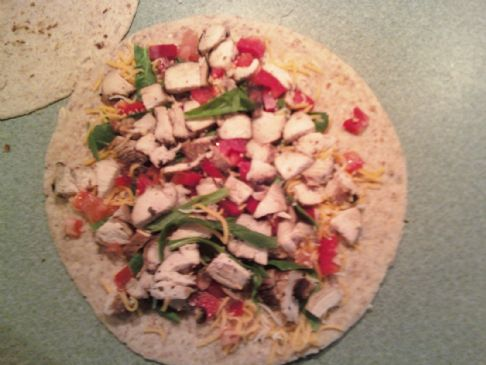 Chicken-Spinach-Red-Pepper-Tomato Quesadilla