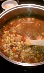 Navy Bean Soup with Corn and Red Peppers