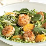 Warm Spinach Orange Scallop Salad