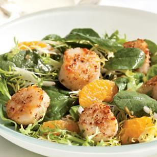 Warm Spinach Orange Scallop Salad