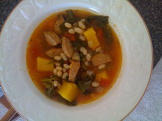 Sausage and White Bean Soup with Greens and Butternut Squash
